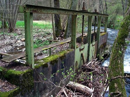 """Pluwiger Hammer. Hier an der Ruwer wird der Fluß mit einem Graben (""""Hammergraben"""", """"Hammerbach"""") angezapft.      Fotos (c) Theophil Schweicher)"""
