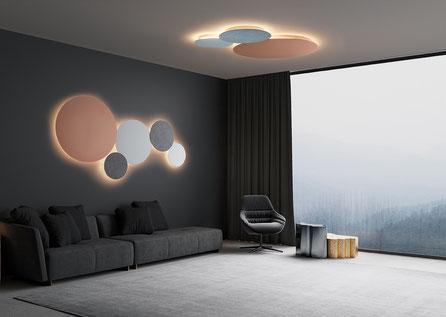 Decken-/Wandlampe Blade ist eine Runde Lampe auf dem Bild in verschieden Größen und Farben kombiniert ist
