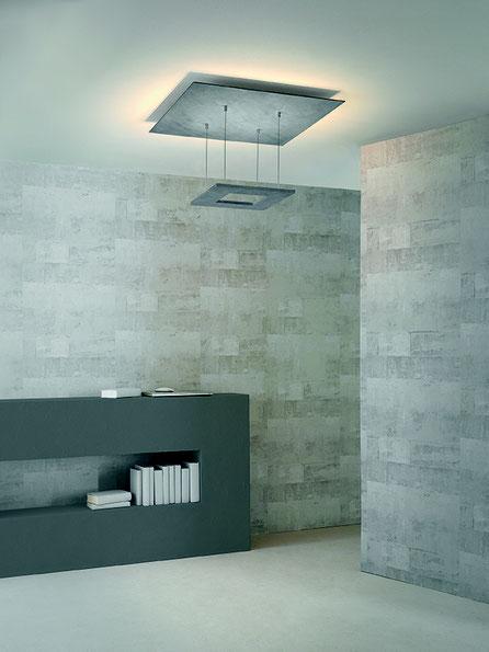 Zen Quadratische Deckenleuchte in Beton Indirektes Licht