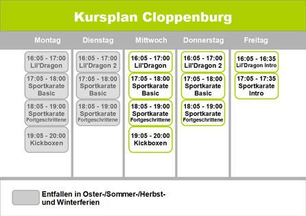 Kursplan Cloppenburg - bleib aktuell in deinem Training