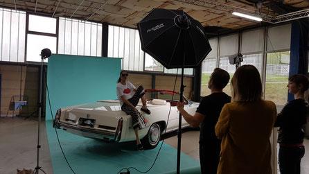Fotoshooting mit Fotograf und Model
