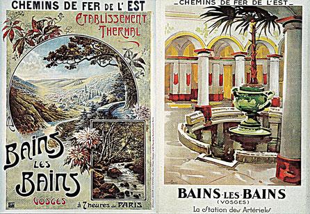 Publicités pour les Chemins de Fer de l'Est, vers 1910 et 1930. (c) Municipalité de LVLB