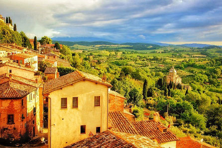 Italy Special Montepulciano - view of the city and the landscape in the sunset