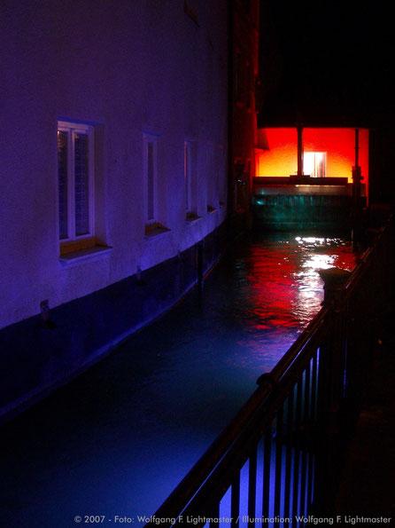 Stadtillumination - Illumination - WASSER - KRAFT - LICHT Stadt Augsburg © 2007 - Foto: Wolfgang F. Lightmaster / Illumination: Wolfgang F. Lightmaster