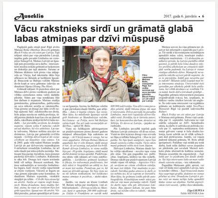 Artikel der Limbažier Zeitung Auseklis über die Baltikumlesereise von Matthias Boosch.