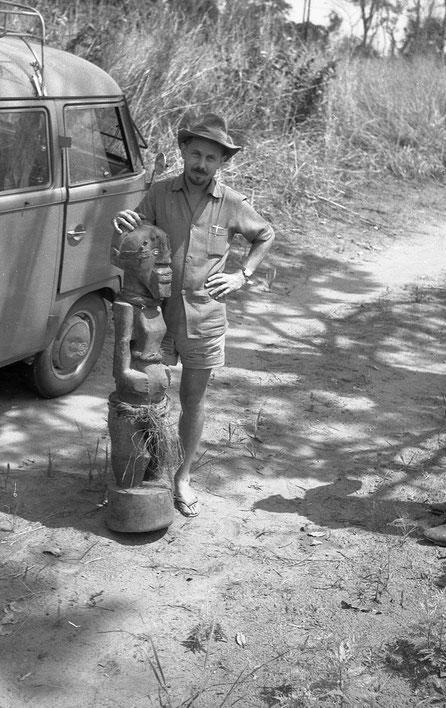 Young Boris with Songye Fetish in Belgian Congo, 1950s.