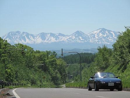 美瑛 某所。大雪山が綺麗に見えたので・・