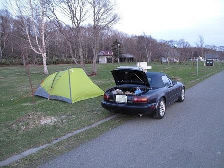 広い敷地でテント泊は私ともう一組だけ。みんな稚内に行っているんだろうな~。