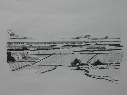 drawing of danish landscape