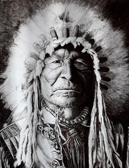 Glasmalerei eines amerikanischen Ureinwohners
