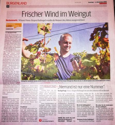 Pressebericht Kurier, Weingut Hufnagel Neckenmarkt