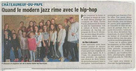 Hip Hop /Jazz/cours de danse et stage/chateauneuf du pape