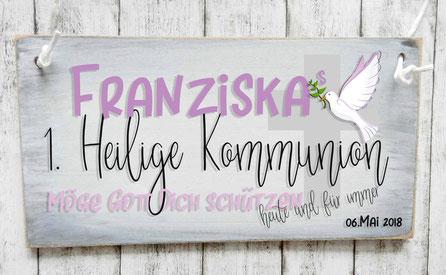 Holzschilde Kommunion Vintage Shabby-Look Deko Dekoration Name Kommunionkind 1. Heilige Kommunion möge Gott dich schützen heute und für immer Taube Kreuz Kirche Geschenk