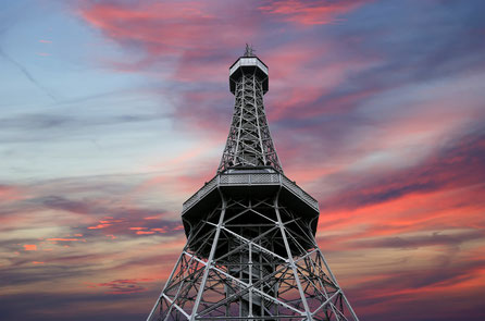 Best things to do in Prague - Copyright Petrin Lookout Tower (1892), resembling Eiffel tower, Petrin Hill Park, Prague, Czech Republic Copyright VLADJ55