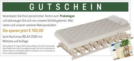 Gutschein RELAX Aktionswochen bei Möbel Meßmer. Gültig vom 5. bis 14. August 2021.
