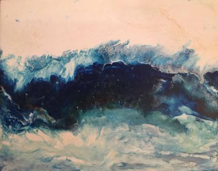 "Wave I, 2017 Encaustic 11""x14"""