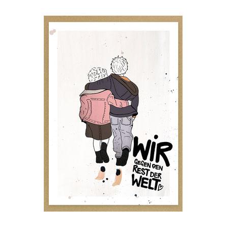 """Grußkarte """"Wir gegen den Rest der Welt"""""""