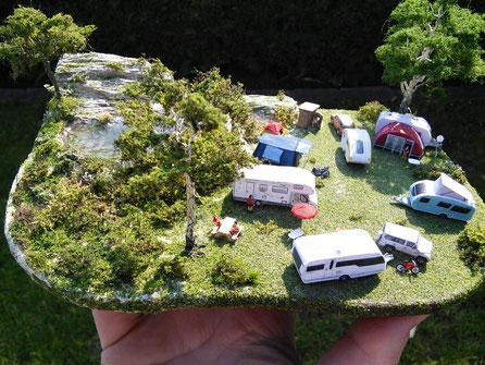 Diorama Campingplatz Spur Z (1:220) - bei Interesse auf Bild klicken