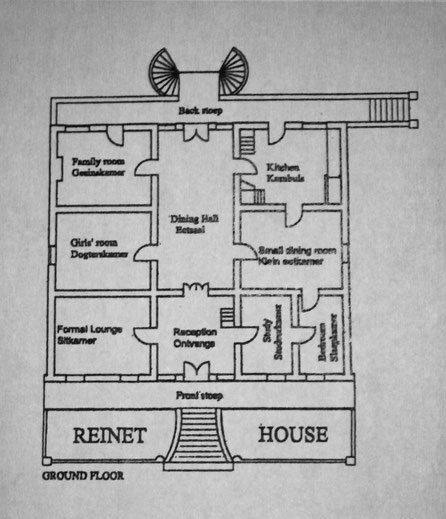 map of the ground floor of the Reinet House in Graaff-Reinet, South Africa.