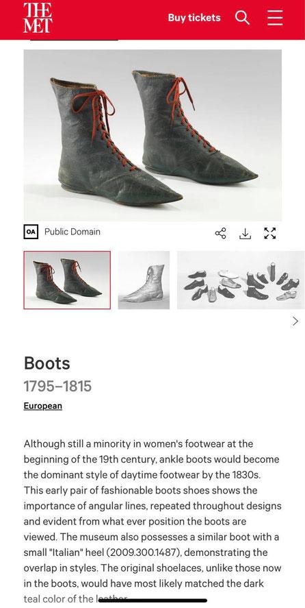 bottines premier empire regency 1800