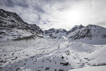 Tschiervagletscher mit Piz Bernina und Piz Roseg