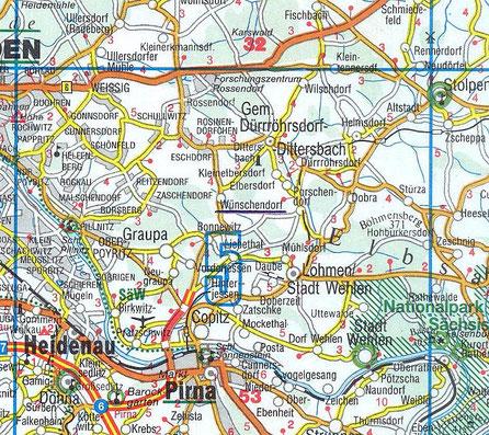 Bild: Wünschendorf Sachsen Dürrröhrsdorf - Dittersbach Karte