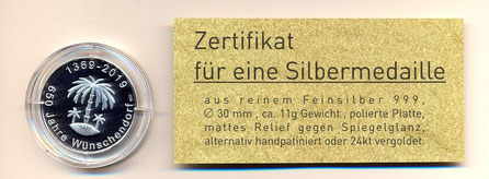 Bild: Medallie Wünschendorf Erzgebirge 2019