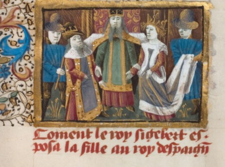 Hochzeit Sigiberts mit Brunichilde. Grandes Chroniques de France, 15. Jh., Bibliotheque nationale de France, Paris