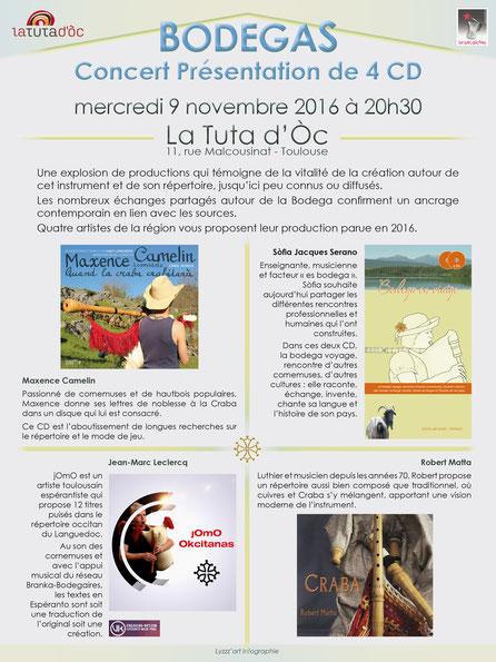 Concert présentation 4 CD autour de la bodega (boudègue) - Maxence Camelin - Sophie Jacques-Serano - Jean-Marc Leclercq - Robert Matta - à la Tuta d'Òc le 9 nov 2016