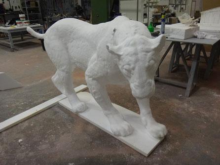 Homoterio (museo de la Evolución) > ampliación del modelo de la escultora Sonia Cabello