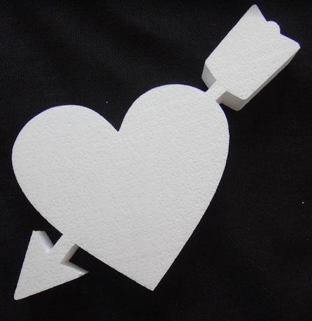 Corazón Flechado Poliespan, Porex, Poliestireno