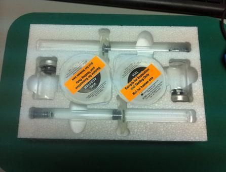 Embajaje mecanizado en poliestireno, para el envío de viales de Botox