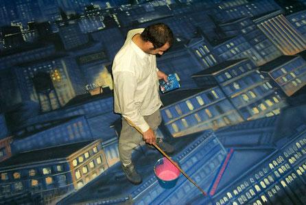 Telón de Fondo pintado a la italiana (entrega Premios Goya) en proceso
