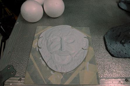 Mascara de Agamenon. Atrezzo especial para rodaje cine.