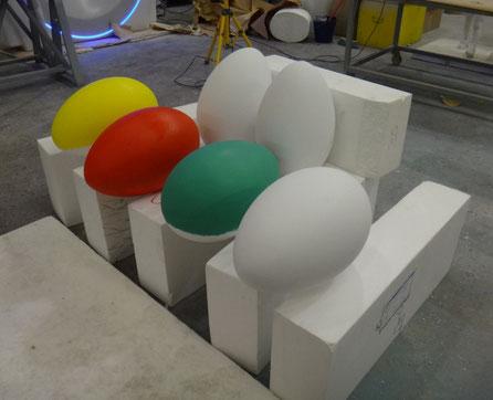 Huevos de Padcua GIgantes (50 cm) tallados en poliespan