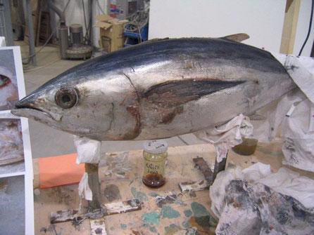 Escultura de Túnido, Atún, en taller