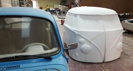 Doldelo de 1/2 Furgoneta VW, para decoración de escaparates.