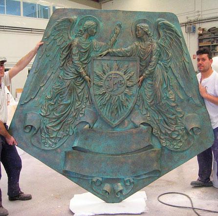 Reproducción de un Relieve, acabado bronce patinado.