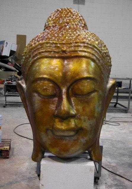 Cabeza Gigante 2 metros de Buddha, Buda dorado cobre plata viejo