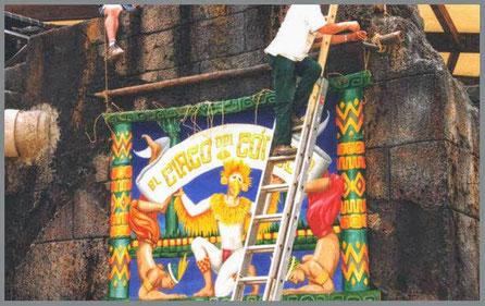 Cartel pintado a mano sobre tela, para atracción en Parque Temático