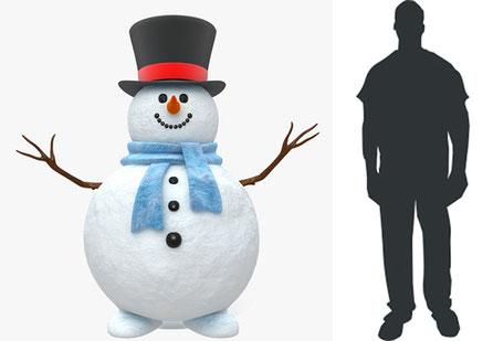 Muñeco de nieve, altura persona, se tallan sobre encargo
