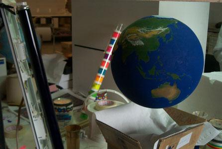 Planeta tierra, pintado a mano