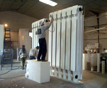 Reclamo, Corporeo Ferial, Ficticio de Radiador Gigante, iba colocado en un giratorio sobre el techo de un stand. Feria de Climatización.