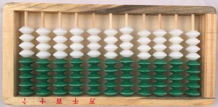 Ábaco europeo, 11 columnas de 9 bolas cada una, 20x10 cm