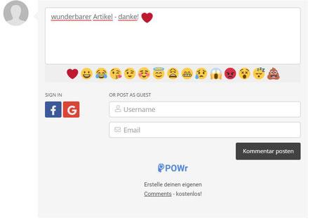 Screenshot Jimdo Creator Add-on Kommentare