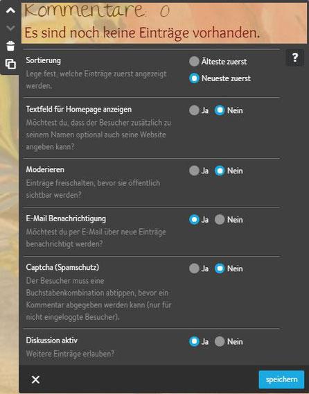 Screenshot Jimdo Creator Widget Gästebuch