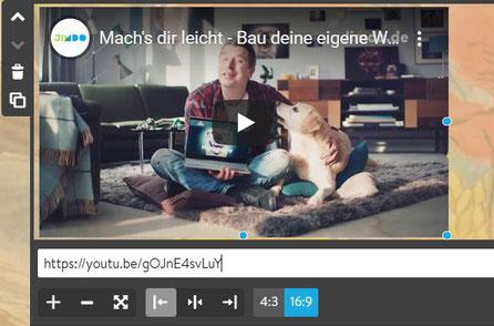 Screenshot Jimdo Creator Video-Widget