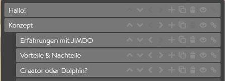 Screenshot Jimdo Creator - Navigation