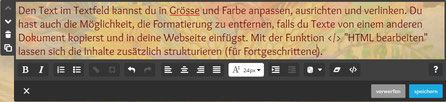 Screenshot Jimdo Creator Text-Element