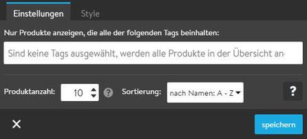 Screenshot Jimdo Creator Widget Produktübersicht